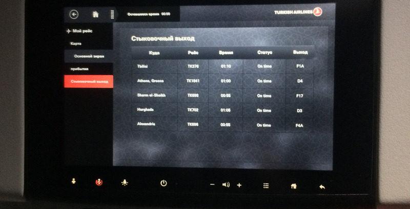 Информация о стыковке на мониторе в самолёте
